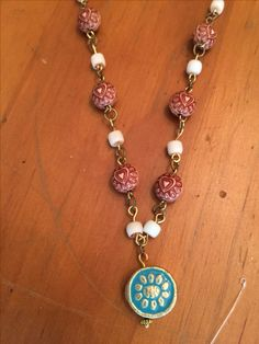 Bead necklasce: wood and turquoise happiness