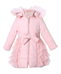 Look at this Pink Mesh Ruffle Hooded Puffer Coat - Toddler & Girls on #zulily today!