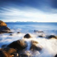 Waves crashing over the rocks on Maria Island off the East Coast of Tasmania. Image sent in by Jono Rose on IG: https://instagram.com/p/BFYYfu2SmcE/