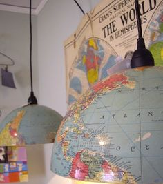 I love maps! How fun of an idea to repurpose an old globe and turn it into a pendant light?