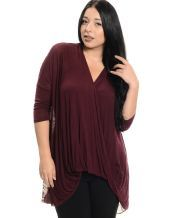 Surplice Sexy Long Sleeve Top Wine - Wine 22/24