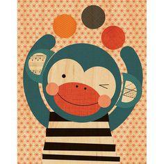 Monkey Print on Wood