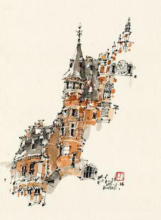Chinese Ink & watercolor by Kiah Kiean on We Heart It Art Sketches, Art Drawings, Building Sketch, Urban Sketching, Watercolor And Ink, Find Image, Architecture, Heart, Sketchers
