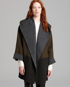 Vince Sweater Coat - Color Block Double Face Wool Blend