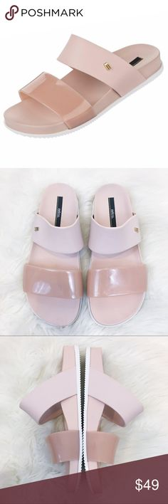Melissa Double Strap Sandals Size 8 How cute are these Melissa sandals? Fun mix of glossy and matte PVC with a molded footbed and rubber sole. These sandals are comfort and fashion twirled into one classic form. Very little wear. Please see photos! Retail $137 Happy Poshing!✨ Melissa Shoes Sandals
