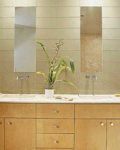 I love how the mirrors are flush with the glass tile in the wall...very fluid! Diy Bathroom Vanity, Bath Vanities, Bathroom Ideas, Contemporary Style Bathrooms, Modern Bathroom, Double Bath, Double Mirror, Double Vanity, Wall Mount Faucet