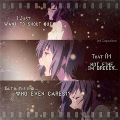 ImageFind images and videos about quotes, anime and sad on We Heart It - the app to get lost in what you love. Sad Anime Quotes, Manga Quotes, True Quotes, Best Quotes, Anime Triste, Dark Quotes, Depression Quotes, Anime Depression, Les Sentiments
