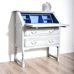 Beautiful secretary painted in a mix of Chalk Paint® colors including Old White Paris Grey, Duck Egg Blue, and Napoleonic Blue by Moja Fragola.
