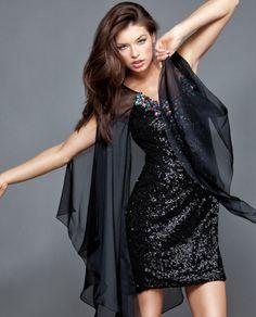 #Jovani style 2215 #JovaniFashions #LittleBlackDress #LBD #beaded #sequins #crystals #chiffon #embellished #dress