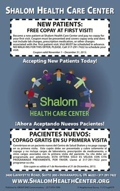 Shalom Health Care Center, Indianapolis, has coupon for new patients and a free copay in the November issue of My Neighborhood Source. Print & Save!