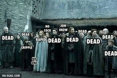 Love how it tells everyone's current status and Jon snow is just Jon snow lol