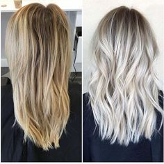 Before and after icy blonde with shadowed roots Habit Salon, AZ - Looking for Hair Extensions to refresh your hair look instantly? http://www.hairextensionsale.com/?source=autopin-thnew