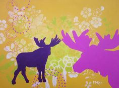 Whimsical Woodland Moose Painting Yellow Pink Green by loriamckee, $100.00