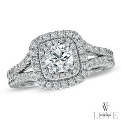 Zales: Vera Wang LOVE Collection 1-1/2 CT. T.W. Diamond Frame Split Shank Engagement Ring in 14K White Gold