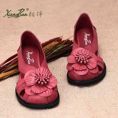 2016 новая весна женская обувь красный цветок кожаные сандалии вырез обувь из натуральной кожи купить на AliExpress