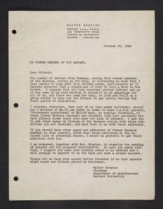 Walter Gropius, letter, 1946