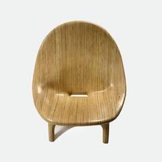 "Julia Krantz, Brazil, 2005  ""Poltrona Suave"" lounge chair in stack-laminated sumauma wood.         32"" L x 36"" W x 37.5"" H  /  81.28cm L x 91.44cm W x 95.25cm H"
