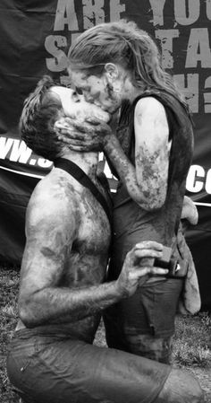 This couple's proposal and engagement kiss after racing in the Mud Run :)<<--wrong it was after the spartan race (you can see it in the background) All You Need Is Love, Just In Case, My Love, Hugs, Things To Do With Your Boyfriend, Mud Run, Tough Mudder, My Sun And Stars, Romance And Love