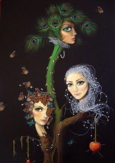 Leila Ataya - By far one of my favorite paintings. She has literally captured my sisters and I. The middle child is known as a peacock as she regularly tries to outshine and describe her successes.  The eldest is a long haired, confident, standout girl. And I am a free-spirited, social butterfly. It's uncanny.