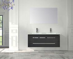 Badmeubel Q1 - 120 cm. met keramisch wastafelblad met 2 kraangaten !   Het meubel heeft twee luxe soft-close lades van het merk Blum, voor een geruisloze en zachte sluiting. Voorzien van een chromen greep en een design keramische wastafel met twee waskommen en twee kraangaten. Leverbaar in de kleuren hoogglans wit, truffel, antraciet & schots-eiken. Het meubel heeft diverse uitbreidings mogelijkheden qua spiegels, spiegelkasten, kolomkasten, verlichting etc. http://www.sanicare.nl