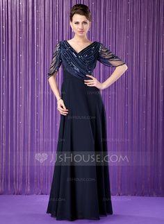 Vestidos princesa/ Formato A Decote V Chá comprimento De chiffon Tule Vestido para a mãe da noiva com Pregueado Bordado Lantejoulas (008018715) - JJsHouse