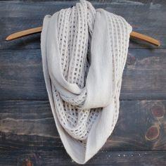 boho infinity grid scarf in oatmeal
