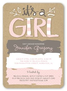 Pattern Shower Girl 5x7 Greeting Card | Baby Shower Invitations | Shutterfly