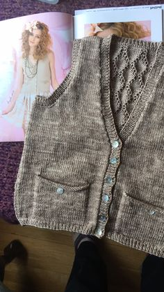 """I knit this vest for our sister Angela in Feb/March 2018.  I used Ancient Arts yarn.  100% Superwash Extra Fine Merino Irish Linen DK.  Bought this yarn at  a wonderful shop """"Willow'n Wool"""" located in Airdrie, Calgary.  The girls there are fantastic!"""
