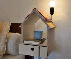 Bedside table for book lovers by Lianne Siebring