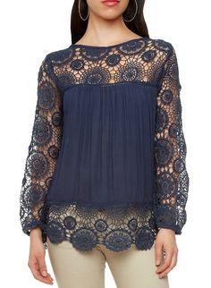 Rainbow Shops Crochet Lace Peasant Blouse $19.97