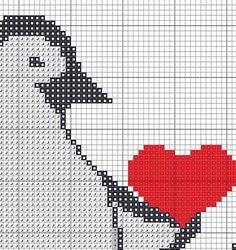 Penguins in love , Counted Cross stitch, Pattern PDF, Cross Stitch Chart , Cute Cross Stitch, Cross stitch pattern, pixel art . 0052 by KHANNAandILAN