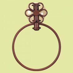 toallero de aro | diseño flor seis petalos | cobre envejecido ceramica marfil | tll1706 toallero de aro de baño hierro manual con utiles