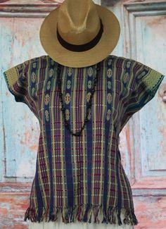 Teal & Multi color Huipil Mayan Chiapas Mexico Pantelho, Hippie, Boho, Santa Fe #Handmade #Huipiltunic