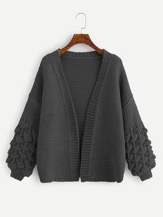 Ad: Plus Crochet Bishop Sleeve Cardigan. Tags: Casual, Grey, Plain, Regular, Coat, Long Sleeve, Fall/Winter, 100% Acrylic, Fabric has some stretch, Regular Fit #fashion #womenfashion #womenclothes #shein