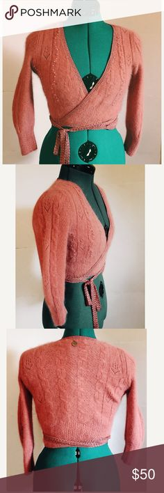 Liu Jo Pink angora wrap sweater small Brand new with tags, beautiful peachy pink color. Pearl detailing on front. Italian size 42 which is a small Liu Jo Sweaters Cardigans