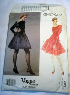 """1990s Givenchy Evening Gown Cocktail Dress Prom Party sewing pattern Vogue 2806 Size 6 8 10 Bust 30.5 31.5 32.5"""" UNCUT FF by retroactivefuture on Etsy"""