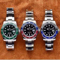 Rolex Hulk✅ x 🔵Pepsi🔴 x Batman🦇 - Amazing Trio! What Rolex would you choose? Best Swiss Watches, Swiss Army Watches, Fine Watches, Sport Watches, Cool Watches, Citizen Watches, Black Watches, Rolex Gmt Master, Bulova Mens Watches