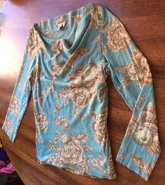L BLUE BROWN PRETTY FLORAL NYLON ANTHROPOLOGY SWEET PEA BY STACY FRATI BLOUSE   Clothing, Shoes & Accessories, Women's Clothing, Tops & Blouses   eBay!