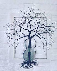 Tree/violin wire sculpture hande made from steel plate and wire by Andrei Birleanu @ https://www.facebook.com/urbanartizan