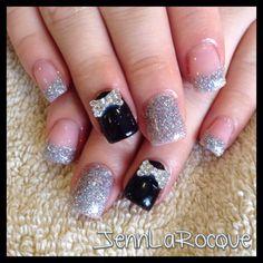 Brits gel nails, glitter nails, bow nails, shellac