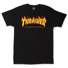 THRASHER MAGAZINE - Flame Logo T-Shirt- Black