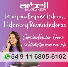 Sabemos que tenés sueños por cumplir y podemos contarte cómo alcanzarlos a través de negocio independiente con la mejor ganancia del mercado. En Emprendedoras Arbell te invita a participar de nuestro grupo de Whatsapp donde podrás encontrar toda la información para incorpórate. Es tan fácil como compartir un mate. Clic Aquí https://chat.whatsapp.com/LqLJa7S2u7E3ZJGV2xzEJH o contáctanos al +54 9 11 6805-6162