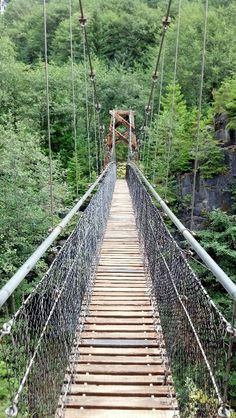 Suspension bridge at the lava canyon hike- Mt. st Helens