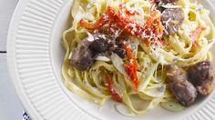 Rezept: Pasta mit Gorgonzola und Hähnchenleber