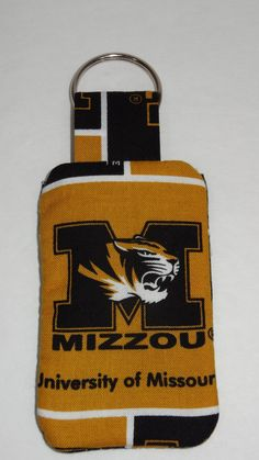 Mizzou University of Missouri Keychain with Back Pocket by BrunosBling on Etsy