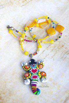 Lizard Salamander Gecko Hawaii necklace, Polymer clay jewelry, Multicolor animal…