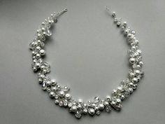 Pearl Bridal, Bridal Tiara, Bridal Jewelry, Unique Jewelry, Crystal Headband, Pearl Headband, Pearl Hair, Diy Necklace, Necklaces