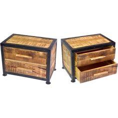 2x Rustic Metal Trimmed Mango Wood Bedside Tables | Buy Wooden Bedside Tables
