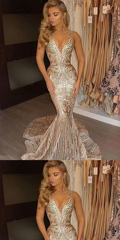 Prom Dress For Teens, Mermaid V-Neck Court Train Sleeveless Gold Lace Prom Dress with Sequins, cheap prom dresses, beautiful dresses for prom. Best prom gowns online to make you the spotlight for special occasions. Sequin Prom Dresses, V Neck Prom Dresses, Beaded Prom Dress, Cheap Prom Dresses, Long Bridesmaid Dresses, Prom Party Dresses, Mermaid Dresses, Evening Dresses, Wedding Dresses