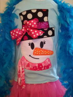 Funky Snowman Girl Machine Applique Design by TheAppliqueJunkie, $5.00